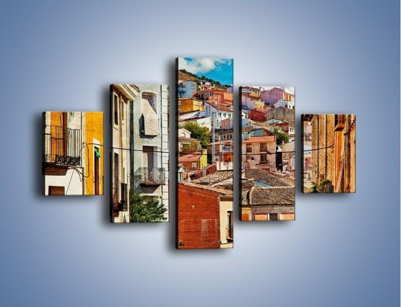 Obraz na płótnie – Kolorowe domki na wzgórzu vintage – pięcioczęściowy AM264W1