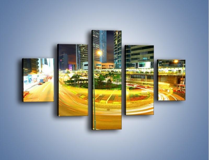 Obraz na płótnie – Światła samochodów w ruchu – pięcioczęściowy AM280W1