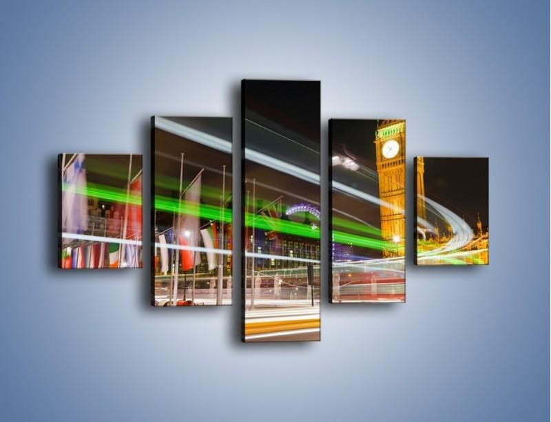 Obraz na płótnie – Światła samochodów na tle Big Bena – pięcioczęściowy AM283W1