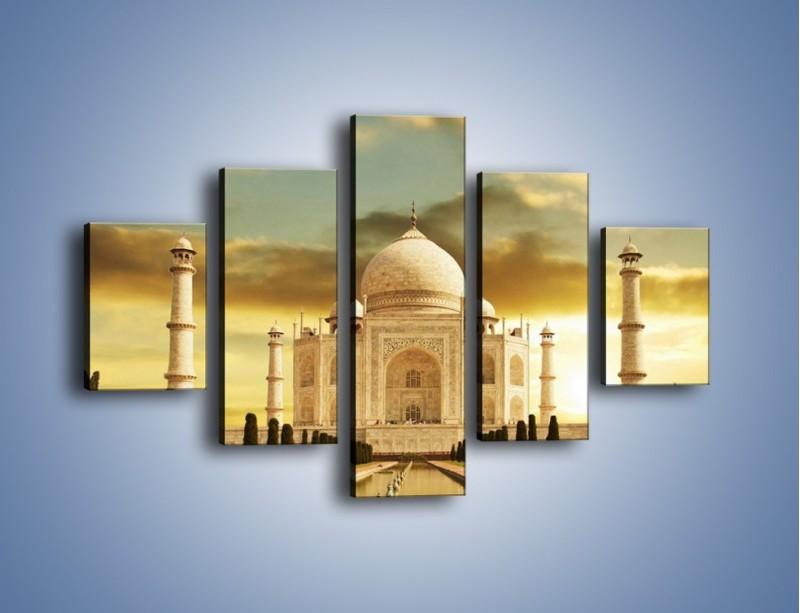 Obraz na płótnie – Tadź Mahal o zachodzie słońca – pięcioczęściowy AM285W1