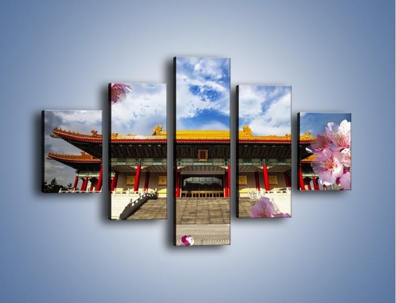 Obraz na płótnie – Azjatycka architektura z kwiatami – pięcioczęściowy AM298W1