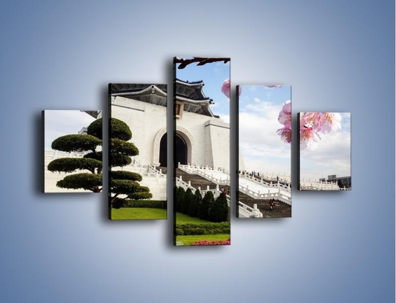 Obraz na płótnie – Azjatycka architektura – pięcioczęściowy AM299W1