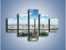 Obraz na płótnie – Chmury nad Wieżą Eiffla – pięcioczęściowy AM302W1