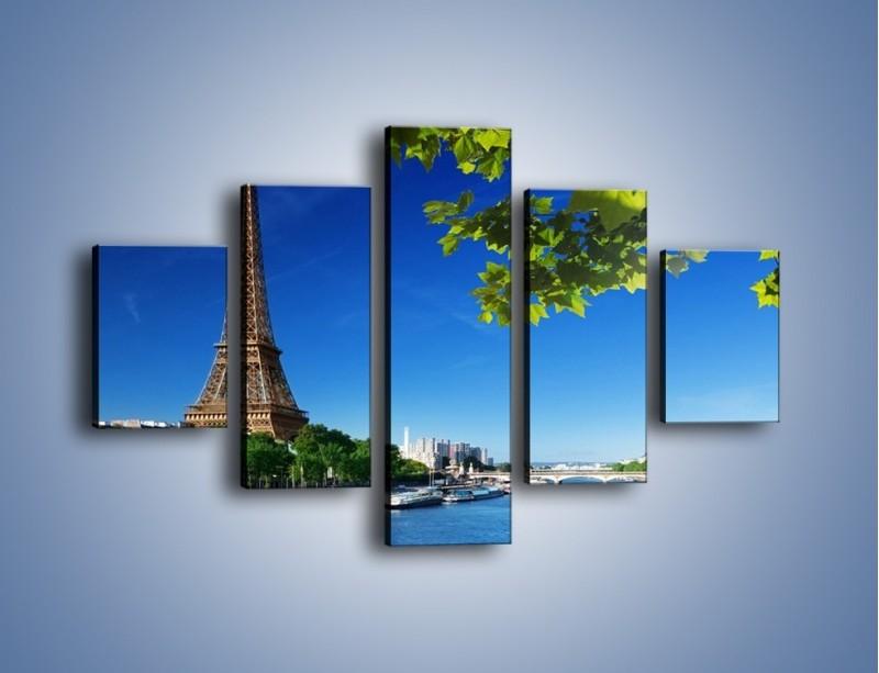 Obraz na płótnie – Wieża Eiffla w piękny dzień – pięcioczęściowy AM304W1