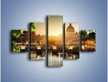 Obraz na płótnie – Bazylika w Rzymie o zachodzie słońca – pięcioczęściowy AM306W1
