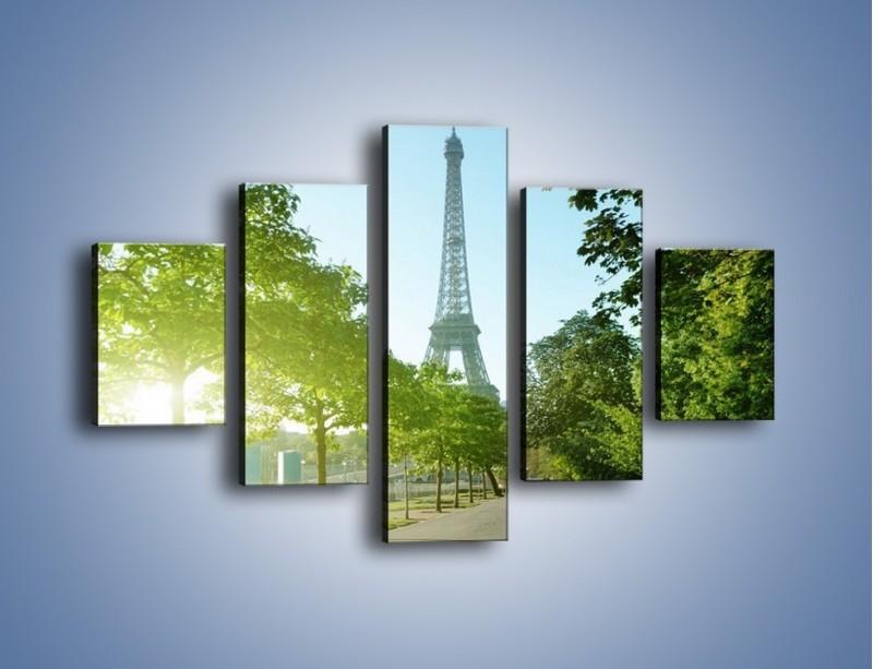 Obraz na płótnie – Uliczka w parku na tle Wieży Eiffla – pięcioczęściowy AM308W1