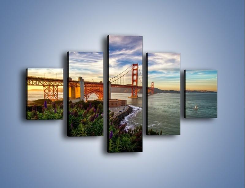 Obraz na płótnie – Most Golden Gate o zachodzie słońca – pięcioczęściowy AM332W1