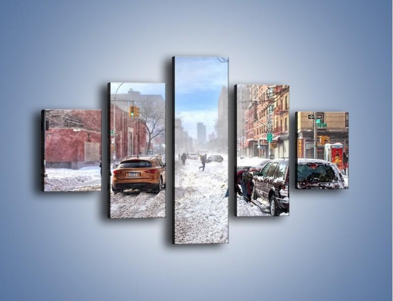 Obraz na płótnie – Zaśnieżone ulice miasta – pięcioczęściowy AM342W1