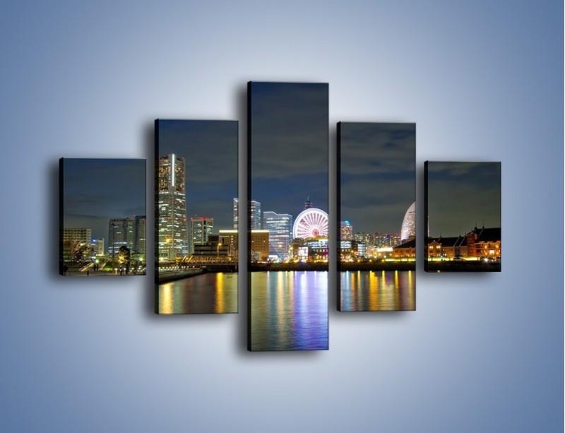 Obraz na płótnie – Yokohama nocą – pięcioczęściowy AM353W1