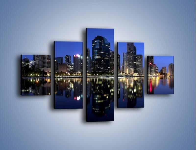 Obraz na płótnie – Brisbane w Australii nocą – pięcioczęściowy AM354W1