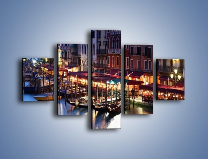 Obraz na płótnie – Wieczorowe życie w Wenecji – pięcioczęściowy AM358W1