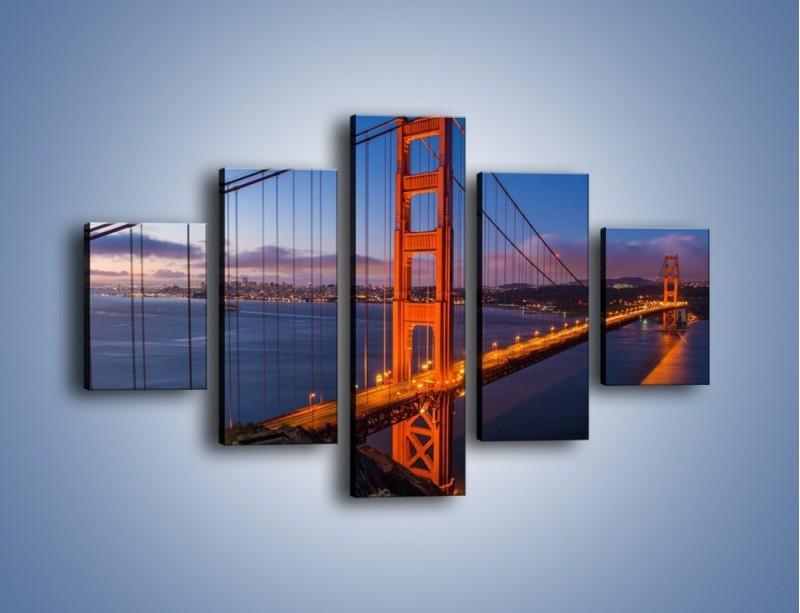 Obraz na płótnie – Rozświetlony most Golden Gate – pięcioczęściowy AM360W1