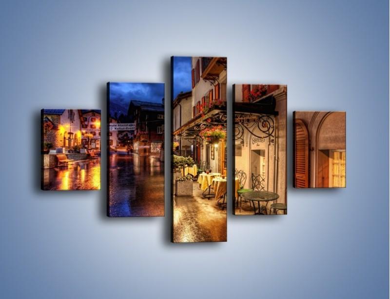 Obraz na płótnie – Romantyczne miasteczko pod Alpami – pięcioczęściowy AM368W1