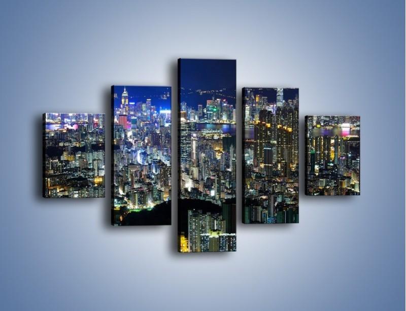 Obraz na płótnie – Drapacze chmur w Hong Kongu – pięcioczęściowy AM369W1