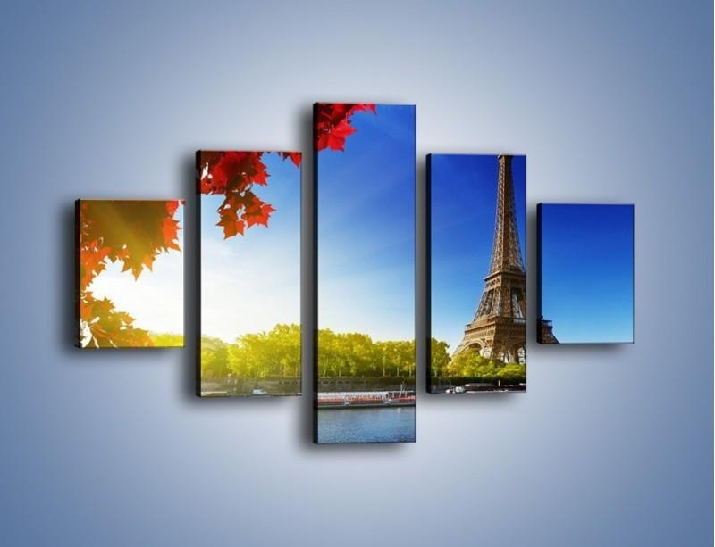 Obraz na płótnie – Wieża Eiffla w piękny dzień – pięcioczęściowy AM373W1