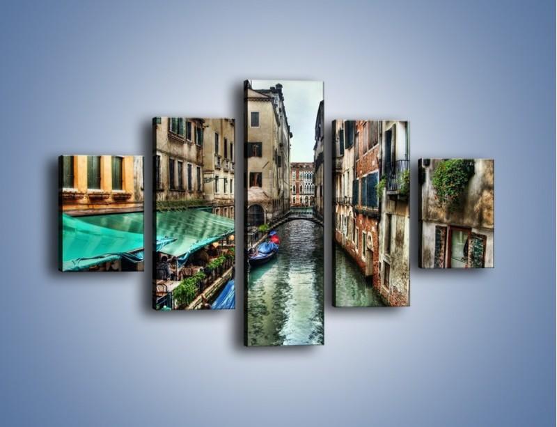 Obraz na płótnie – Wenecka uliczka w kolorach HDR – pięcioczęściowy AM374W1