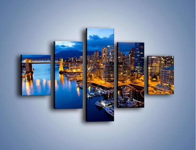 Obraz na płótnie – Zapadająca noc nad Vancouver – pięcioczęściowy AM384W1