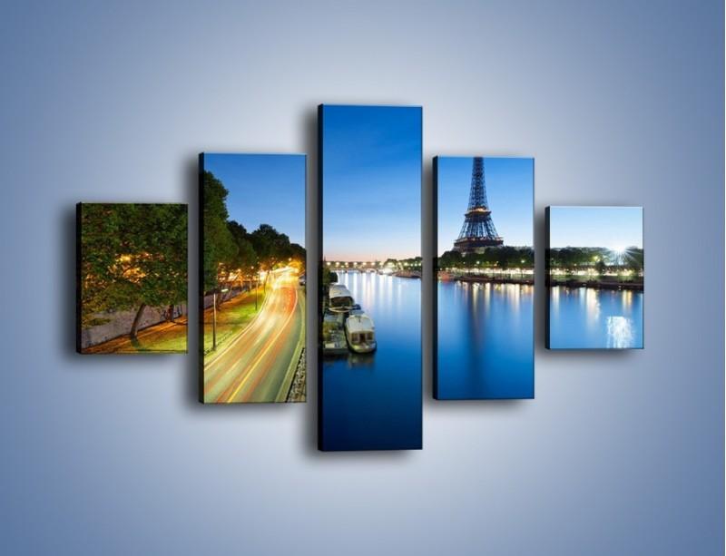 Obraz na płótnie – Zapadający zmrok w Paryżu – pięcioczęściowy AM385W1