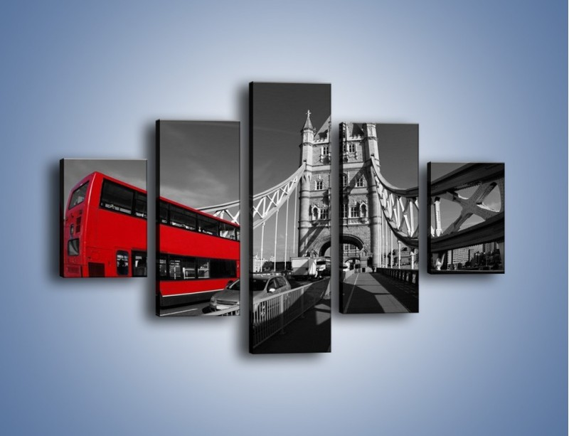 Obraz na płótnie – Tower Bridge i czerwony autobus – pięcioczęściowy AM394W1