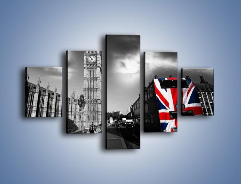 Obraz na płótnie – Big Ben i autobus z flagą UK – pięcioczęściowy AM396W1