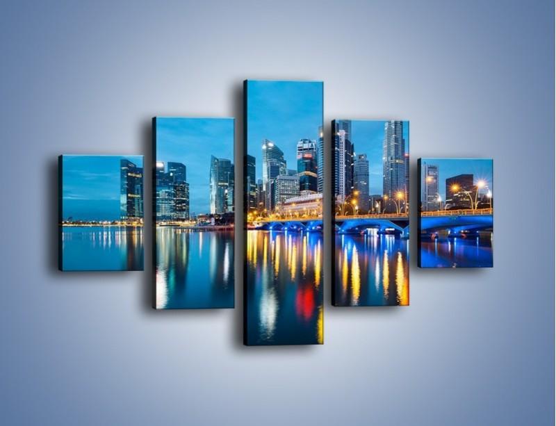 Obraz na płótnie – Kolorowe światła Singapuru – pięcioczęściowy AM408W1
