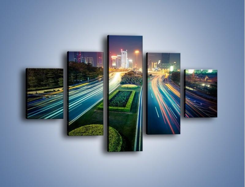 Obraz na płótnie – Uliczne światła Szanghaju – pięcioczęściowy AM409W1