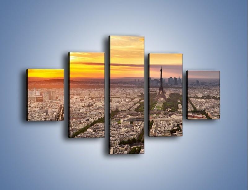 Obraz na płótnie – Zachód słońca nad Paryżem – pięcioczęściowy AM420W1