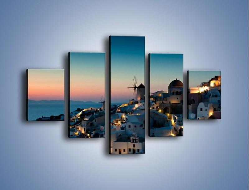 Obraz na płótnie – Domki na Santorini po zmierzchu – pięcioczęściowy AM421W1