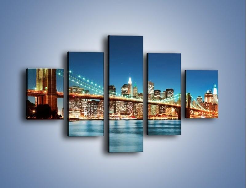 Obraz na płótnie – Most Brookliński na tle Nowego Jorku – pięcioczęściowy AM428W1