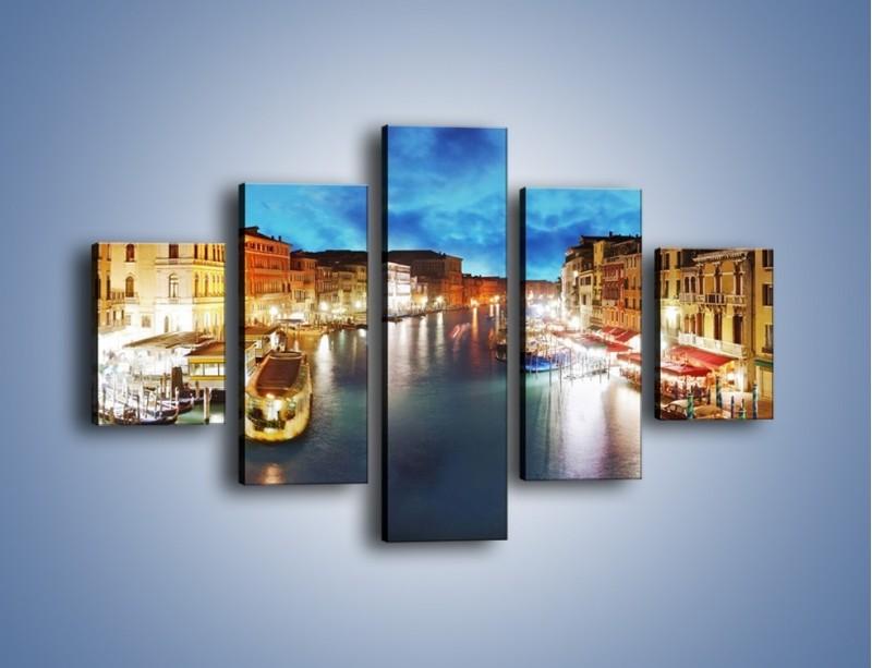 Obraz na płótnie – Światła Wenecji po zmroku – pięcioczęściowy AM430W1