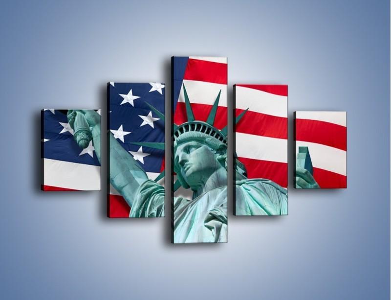 Obraz na płótnie – Statua Wolności na tle flagi USA – pięcioczęściowy AM435W1