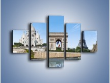 Obraz na płótnie – Atrakcje turystyczne Paryża – pięcioczęściowy AM448W1