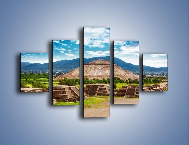 Obraz na płótnie – Piramida Słońca w Meksyku – pięcioczęściowy AM450W1