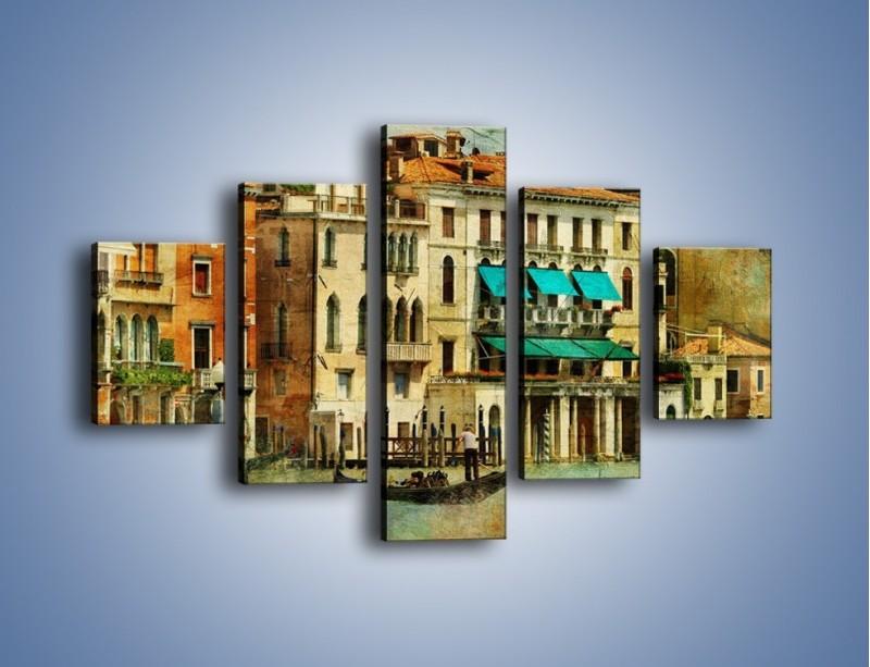 Obraz na płótnie – Weneckie domy w stylu vintage – pięcioczęściowy AM459W1
