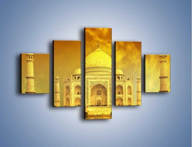 Obraz na płótnie – Tadź Mahal w żółtym kolorze – pięcioczęściowy AM465W1