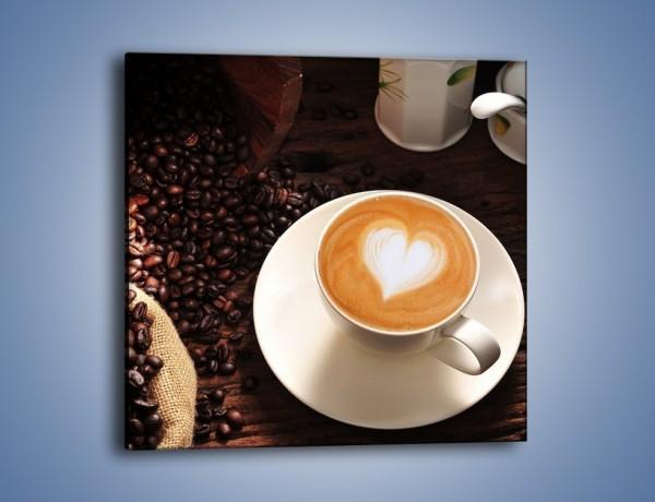 Obraz na płótnie – Kawa z białym sercem – jednoczęściowy kwadratowy JN546