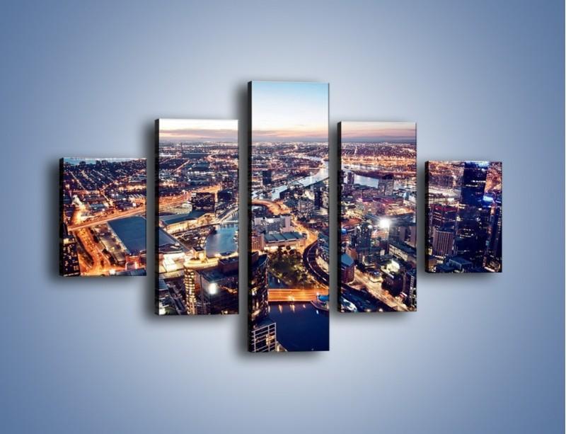 Obraz na płótnie – Panorama Melbourne po zmierzchu – pięcioczęściowy AM470W1