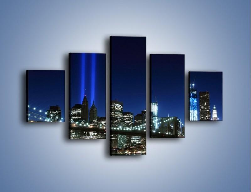 Obraz na płótnie – Most Brookliński nocą – pięcioczęściowy AM476W1