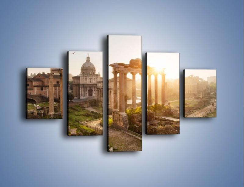 Obraz na płótnie – Rzymskie ruiny o zachodzie słońca – pięcioczęściowy AM480W1