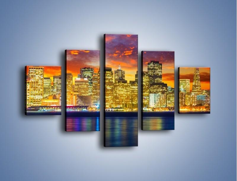Obraz na płótnie – Wieżowce San Francisco nad wodą – pięcioczęściowy AM481W1
