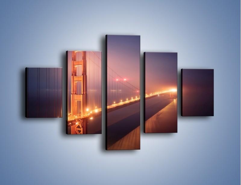 Obraz na płótnie – Most Golden Gate w nocnej mgle – pięcioczęściowy AM490W1