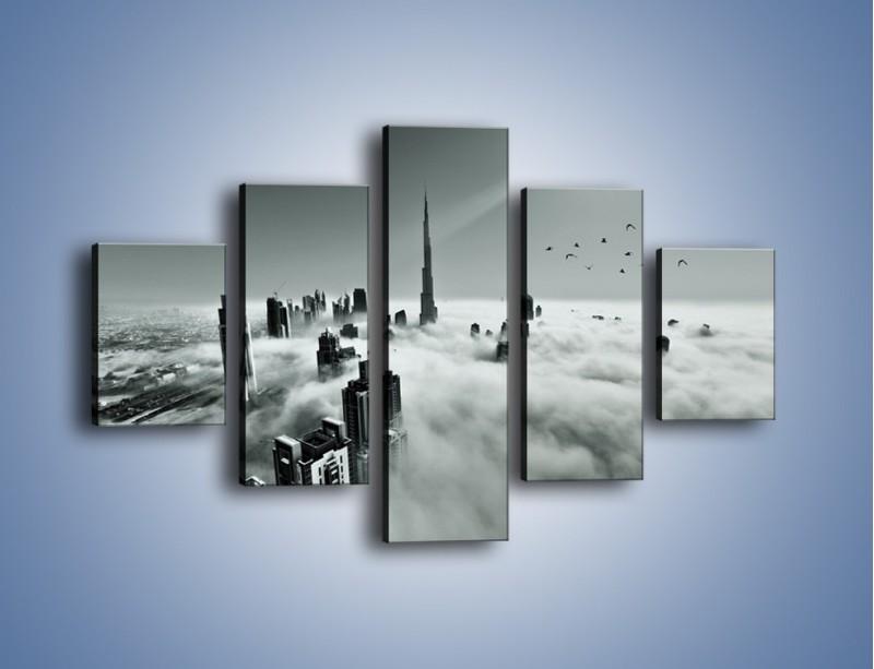 Obraz na płótnie – Centrum Dubaju we mgle – pięcioczęściowy AM502W1