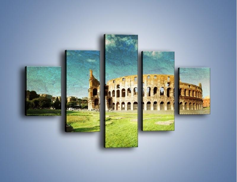 Obraz na płótnie – Koloseum w stylu vintage – pięcioczęściowy AM503W1