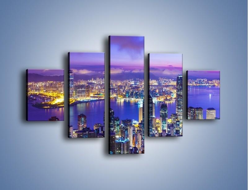 Obraz na płótnie – Wieczorna panorama Hong Kongu – pięcioczęściowy AM505W1