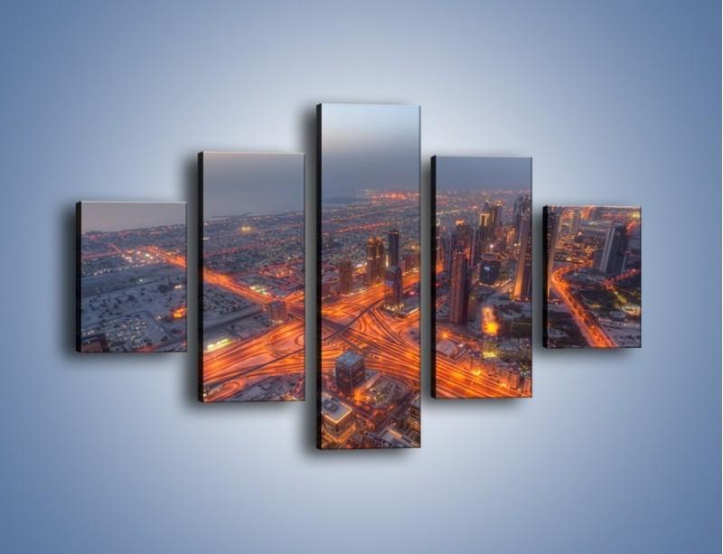 Obraz na płótnie – Panorama Dubaju o poranku – pięcioczęściowy AM538W1