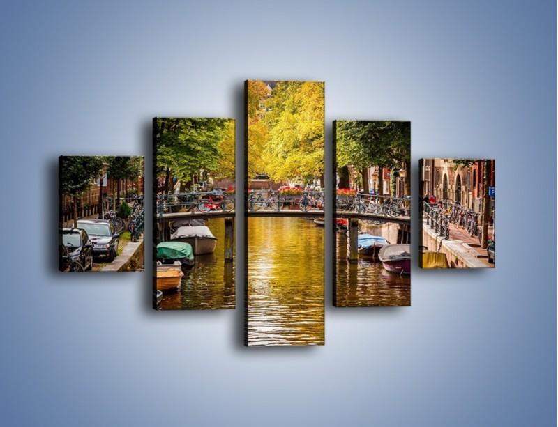 Obraz na płótnie – Most nad amsterdamskim kanałem – pięcioczęściowy AM552W1