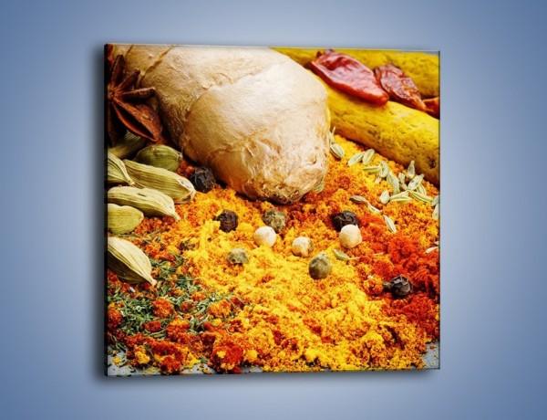 Obraz na płótnie – Kolorowy dywan z przypraw – jednoczęściowy kwadratowy JN549