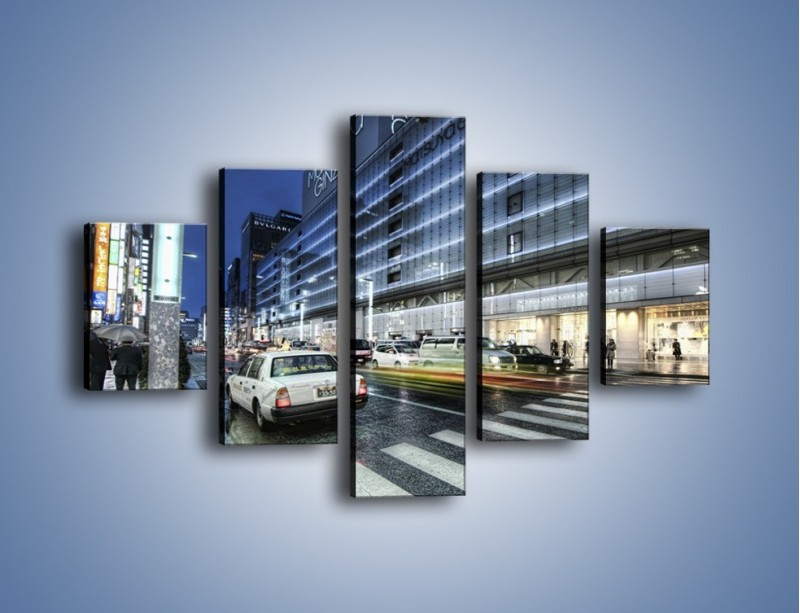 Obraz na płótnie – Ulica Tokyo w deszczu – pięcioczęściowy AM613W1