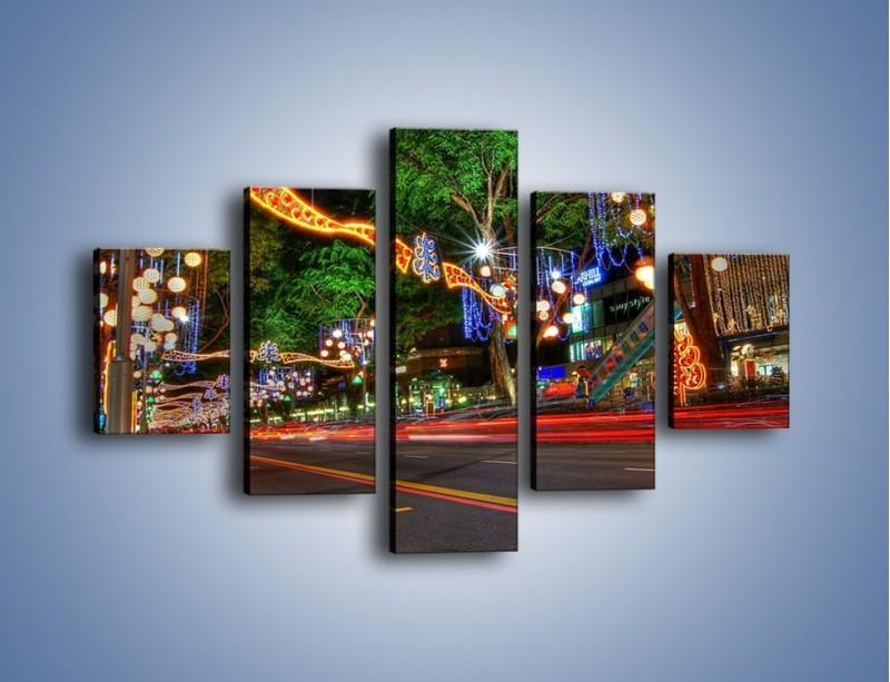Obraz na płótnie – Noworoczne dekoracje w Singapurze – pięcioczęściowy AM616W1