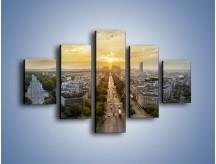 Obraz na płótnie – Zachód słońca nad Paryżem – pięcioczęściowy AM649W1